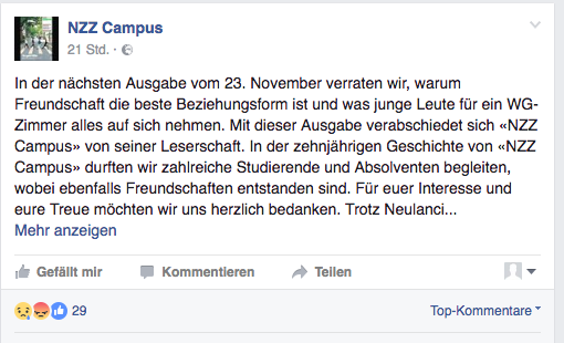 Facebook-Post NZZ-Campus